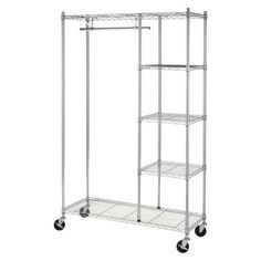 Whitmor Rolling Garment Rack With Shelves   Chrome