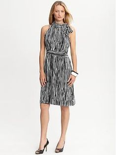 "Striped tie-neck dress | Banana Republic: all-over print will hide a multitude of ""sins"" and draws attention to face!"