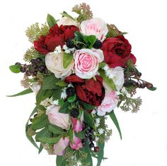 Peony and Rose Trailing Bouquet  with Burgundy Peonies, Pink & Cream Roses and Berries -  Rustic Wedding Bouquet, Keepsake Bouquet for Bride