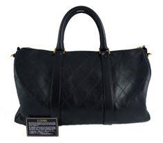 Chanel Black Lambskin Jumbo Maxi Boston Weekender Luggage Bag