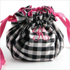 Susabelle Boutique - Silk Gingham Personalized Jewelry Pouch - Jewelry Rolls and Makeup Bags - Jewelry - Housewarming Gifts, Baby Shower and Bridal Shower Gifts, Unique Personalized Gifts