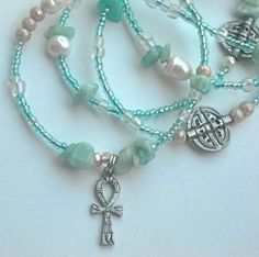 Amazonite Ankh Waistbeads by WrapandSoul on Etsy, $25.00