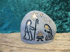 NATIVITY Engraved Natural Stone Unique Collectable von SandStudios