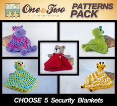 SPECIAL OFFER - Choose 5 Animal Security Blankets PDF Crochet Patterns - Text instructions and Symbol Chart instructions. $14.99, via Etsy.