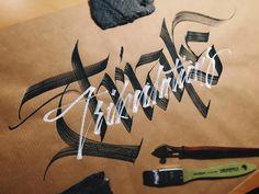 Trials and tribulations. #makedaily #calligraphy #calligraffiti #calligritype #typographyinspired #blackletter #inking #ink #Fraktur #lettering #flatbrush #handstyles #thedailytype #caligrafia #graffiti #showusyourtype #graphicdesign #goodtype #typedaily #typespire #handmadefont #art #rulingwriter