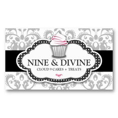 Divine Gray White Damask Cupcake Business Card