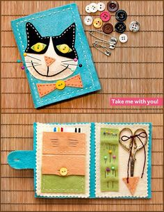 DIY Felt Sewing Travel Kit with Kitty Cover Tutorial. Detailed but so doable tutorial from Sew4Home here (patterns, good instructions, etc…). *At first I thought the yellow eyed cat looked sinister, but then I remembered I have a sinister looking yellow eyed black cat!