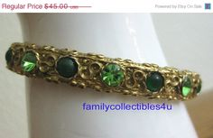 Limited Time Sale Gold Tone and Green Rhinestone Hinged Signed Goldette Victorian Revival Vintage Bracelet (36.00 USD) by familycollectibles4U