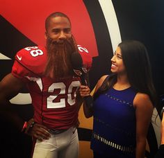 As @lisacharisseb found out, @jbet26 brought some personality and a long beard to #CardsMediaDay. #AZCardinals