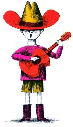 Guitar boy, from Libri, illus by John Alcorn, 2012. #illustration