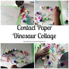 TeacherMomPlus3: Tot-School Contact Paper Collage 'Dinosaur' Day 5