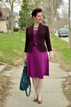 Already Pretty outfit featuring burgundy blazer, radiant orchid dress, leopard pumps, Foley + Corinna Mid-City Tote, Zara rhinestone necklac...