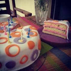 Birthday Cake with strawberry filling and fondant