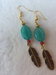 Blue Aquamarine stone with red jade bead and by MoonBeamsJewels