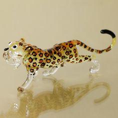 blow glass animals | Leopard TIGER Hand Blown Glass Wild Animal Miniature Figurine Hand ...