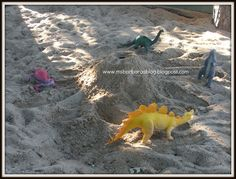 Our dinosaurs were circling the base of the volcano waiting to see what was going to happen.