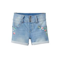 Girls 7-16 & Plus Size SO® Light Wash Braided Belt Loop Jean Shorts, Girl's, Size: 18 1/2, Med Blue