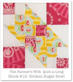 Farmer& Wife Quilt-a-Long - Block 12 Hexagon Quilt, Quilt Block Patterns, Square Quilt, Quilt Blocks, Hexagons, Baby Girl Quilts, Girls Quilts, Sampler Quilts, Amish Quilts