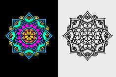 Free Vector Colored Mandala saved in diferent files format so can be used for printing and cutter ploter maschines. Mandala Coloring, Vector Design, Vector Free, Prints, Coloring Pages Mandala