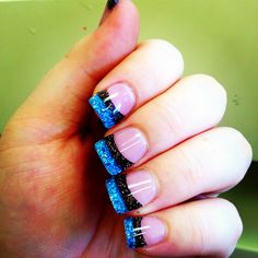 My blue and brown glittery nails!  :)