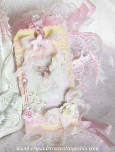 Shabby Chic Victorian Girl in Pink and Ivory La Belle Pearl Tag, Large Sized via Etsy