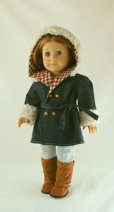 American Girl Doll Clothes  - Denim Coat or Jacket with Hood and Sherpa Trim