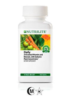 Nutrilite® Daily  180 Tablets Take 1 tablet per day. 24 essential vitamins and minerals, with exclusive plant concentrates A powerful and convenient way to help fill the vitamin and mineral nutritional gaps in your daily diet. 100% or more Daily Value of 20 essential vitamins and minerals. 518 mg of exclusive Nutrilite® whole plant concentrates for phytonutrient benefits beyond vitamins and minerals. Antioxidant protection against free radicals.