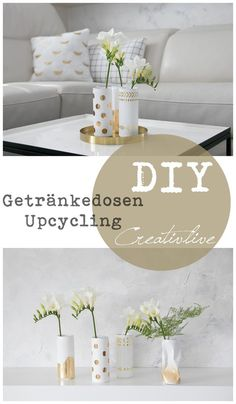 DIY Getränkedosen Upcycling in Weiß-Gold