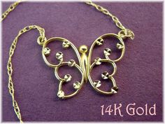 14K Gold ~ Butterfly Diamond Cut Necklace - 14K White & Yellow Gold - Gift Boxed - FREE SHIPPING by FindMeTreasures on Etsy