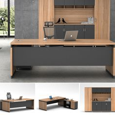 Source Latest modern l-shape executive wooden office tables design on m. Small Office Design, Office Table Design, Office Furniture Design, Office Interior Design, Office Interiors, Modern Office Table, Executive Office Furniture, Luxury Office, Desk Layout