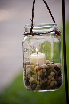 Six Hanging Mason Jars with Candle Decoration (set of six). $55.00, via Etsy.