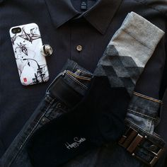 """""""Playing with shades of black today. Fading diamond socks by Happy Socks; striped shirt by Apt.9; silver jeans by Levi's; phone case by Nuvango; rings by James Avery. #socks #happysocks #nuvango #rings #jamesavery"""" via https://instagram.com/p/z4ydzOQf3m"""