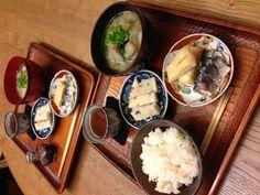 にしんずし、野菜具沢山お味噌汁、野菜天、胡麻豆腐 17/3/2013