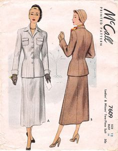 1940s Womens Suit McCall 7609 Sewing Pattern Size 12 Slim Skirt Patch Pockets Cuffs
