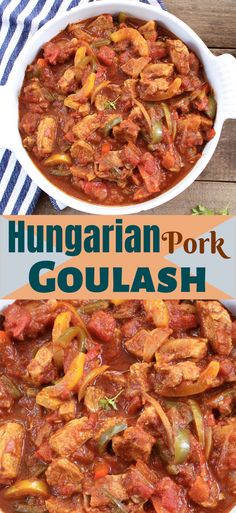 This is a tasty, easy traditional Hungarian recipe for pork goulash which the whole family will love and it's only 292 calories per portion! Stew Meat Recipes, Pork Recipes, Vegetarian Recipes, Healthy Recipes, Vegetable Recipes, Oven Recipes, Meatloaf Recipes, Vegetarian Cooking, Kitchen Recipes