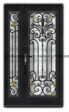 Hand Crafted Metal Double Door Iron Door – China Door, Steel…- Hand Crafted Me… Iron Front Door, Double Front Doors, Double Doors Exterior, Grill Door Design, Double Door Design, Iron Gate Design, Wrought Iron Doors, Metal Doors, Wood Doors