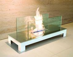 Radius Floor Flame weiß: mit Scheibe - Edelstahl Hochglanz Weiß