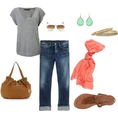 Casual with color- live the shoes and of course the MK purse!