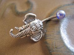 Belly Button Stud- Elephant Jewelry Navel Ring Piercing Stud Bar Barbell Silver