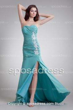 Turquoise A-line Sweetheart Chiffon Prom Dress With Splits