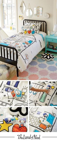 Our Interactive Dollhouse Bedding features the 100% cotton comfy construction you want in your kids bedding, plus the imaginative design of a dollhouse.