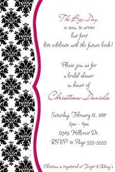 Damask Bridal Shower Invitation