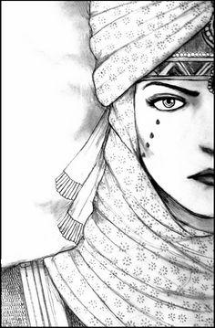 Dessin visage femme orientale. Anger.Leila