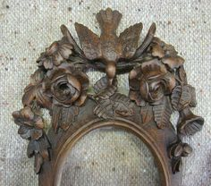 Antique French Hand Carved Wood Frame Bird Flowers Black Forest | eBay