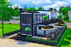 Sims 4 Loft, Sims 4 Get Together, Casas The Sims 4, Sims 4 Build, Sims 4 Houses, Modern Bar, Cafe Design, Sims Cc, Deck