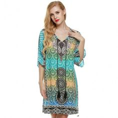 Women Ethnic Vintage Style Bohemian Neck Tie Floral Print Summer Casual Shift Dress