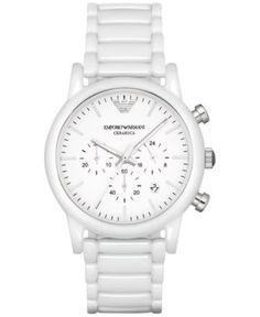 Emporio Armani Men's Chronograph Luigi White Ceramic Bracelet Watch 43mm AR1499