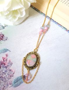 Pastel Cameo Necklace Pastel Goth Cameo Victorian Necklace Fairy Kei Jewelry Lolita Necklaces with Cross Kawaii Pastel Jewelry Harajuku (13.50 USD) by Portenya