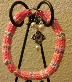 Charm Hexafish Bracelet Pink/White/Purple by ButtonsBetwixtRibbon, $5.00