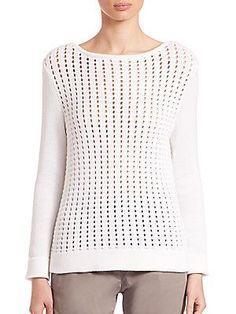 Eleventy Honeycomb Sweater - White - Size